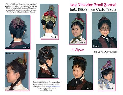 1885-1895 Late Victorian Small Bonnet Pattern ()