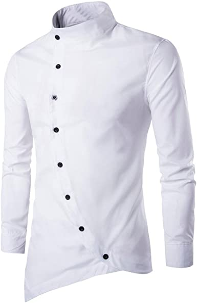 Culater® Hombre Camisas Moda Manga Larga Asimétrico Men Fashion Slim Fit Casual Shirts (XS, Blanco): Amazon.es: Ropa y accesorios