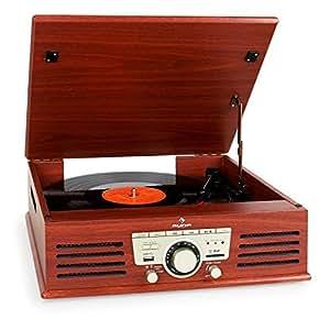 Auna TT-92W tocadiscos (entradas USB y SD/MMC, entrada AUX, radio FM)