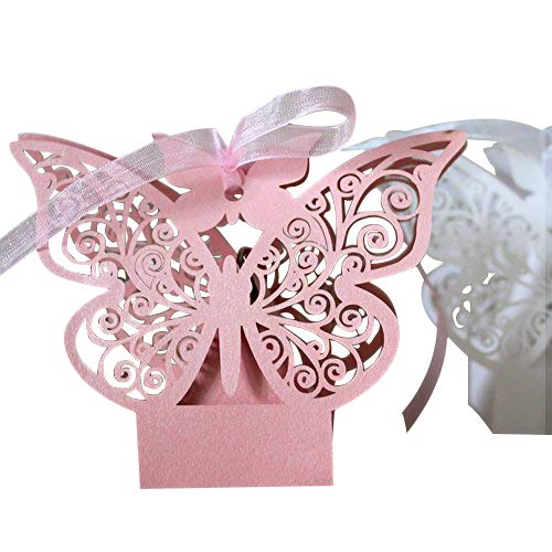 50 Pack Laser Cut Butterfly Wedding Favour Box With Organza