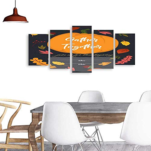 UHOO 5 Piece Wall Art Painting PrintImage of Happy Thanksgiving Greeting Card with Pumpkin and Lettering Vector Illustration .odern Decoration Living Room -