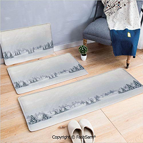 3 Piece Non Slip Flannel Door Mat Winter Scene in a Park with Trees Foggy Blurry Weather Ice Cold Frost Image Indoor Carpet for Bath Kitchen(W15.7xL23.6 by W19.6xL31.5 by W17.7xL53)