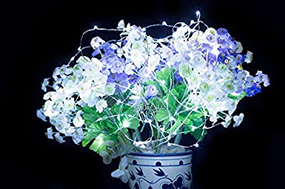 Improved Design with Timer Set of 5 Micro LED 20 Warm White Lights Battery Operated on 7ft Long Silver Color Ultra Thin String Wire, 6 hours on/18 hours off