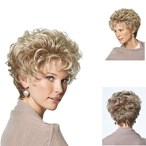 GNIMEGIL Ladies Blonde Curly Hair Short Wigs Natural Golden Blond Hair with Air Bangs Soft Curls Full Wigs for Women Heat Resistant Synthetic Cosplay Costume Party Wig