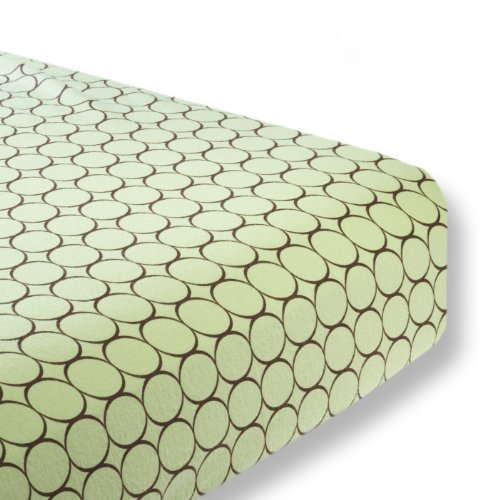 SwaddleDesigns Cotton Crib Sheet, Made in USA, Premium Cotton Flannel, Brown Mod Circles on Lime ()