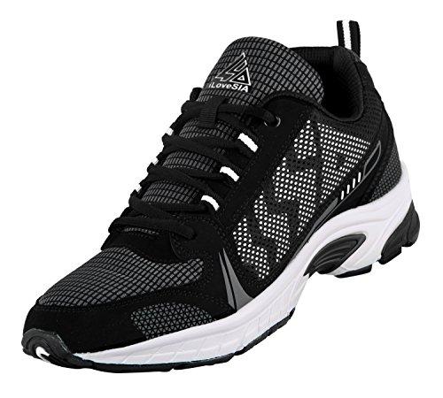 iLoveSIA Men's Comfortable Easy-Go Running Shoe Black+White US size 8