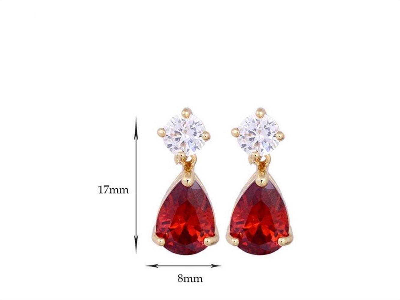 NqceKsrdfzn 1 par de Pendientes de Amor para Mujer Gotas de Agua Pendientes de Regalo (Rojo)