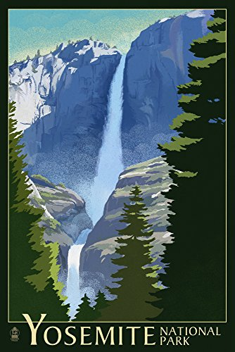 Yosemite Falls - Yosemite National Park, California Lithography (12x18 Art Print, Wall Decor Travel Poster)