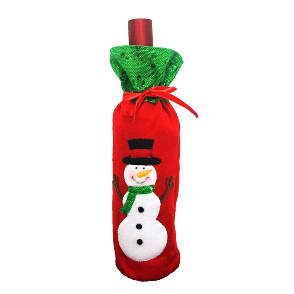 Clearance! Paymenow Wine Bottle Cover Bags Decoration Home Party Santa Claus Clothes Hat Christmas (C)