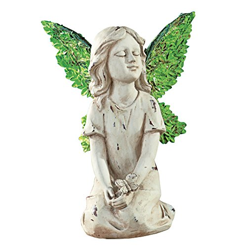 Angel Fairy Resin Garden Statue Figurine Decoration with Leaf Wings, Sitting (Resin Garden Sculptures)