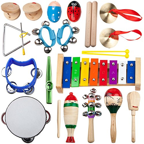 (Kids Mini Band Musical Instruments Rhythm Xylophone Set for Percussion Toy(14psc))