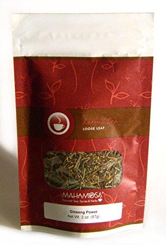 Ginseng Licorice - Mahamosa Ginseng Power Tea 2 oz, Loose Leaf Herbal Herb Tea Blend (with ginseng, licorice, peppermint, hibiscus, lemongrass, passion flowers, St. John's wort, lemon flavor, tea)