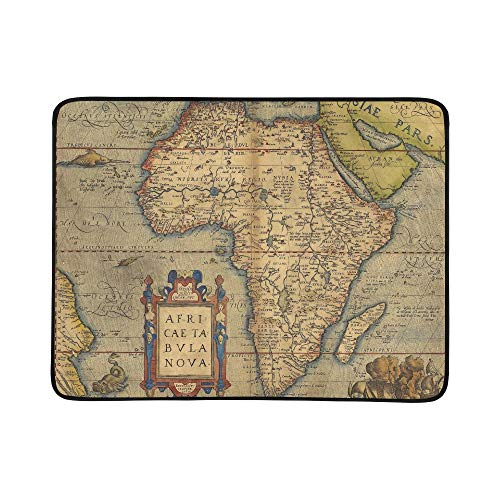YSWPNA Antique Map of Africa by Abraham Ortelius Circa Pattern Portable and Foldable Blanket Mat 60x78 Inch Handy Mat for Camping Picnic Beach Indoor Outdoor Travel