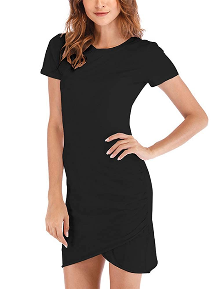Black Womens Casual Solid Short Sleeve Ruched Bodycon Mini TShirt Pencil Dress