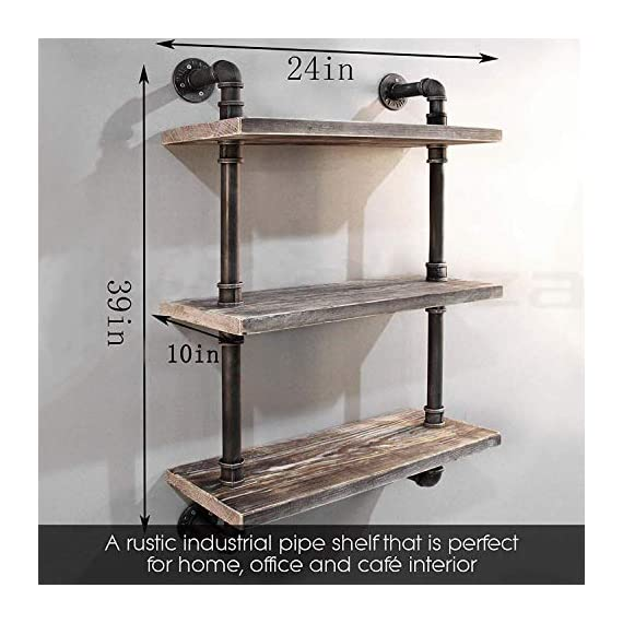 "Diwhy Industrial Pipe Shelving Bookshelf Rustic Modern Wood Ladder Storage Shelf 3 Tiers Retro Wall Mount Pipe Dia 32mm Design DIY Shelving (Silver, L 24"") - 【Retro Style】:Rustic industrial pipe shelf in black finish.Iron pipes and reclaimed real wood composition in vintage style.Storage and decorations.It can also be used outdoors.Extensively anti-rust treatment. - Electroplated finish. 【Size】:Made from quality metal pipe and pine wood. Overall size: length 24in x depth 10in x height 39in.Board size: length 24in x depth 10in x thickness 1.18in.Water pipe diameter: 1.26in, Overall Product Weight:20 lb . 【Multi-functional】:The floating shelves are versatile, such as bathroom accessories, towel holder, bookcase, spice racks. - wall-shelves, living-room-furniture, living-room - 51eKjelGsxL. SS570  -"