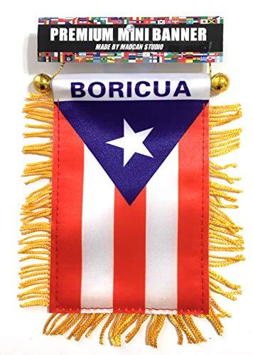 - Puerto Rico Mini Banner Flag Boricua Design Limited Edition