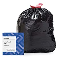 Amazon Brand – Solimo Multipurpose Drawstring Trash Bags, 30 Gallon, 50 Count