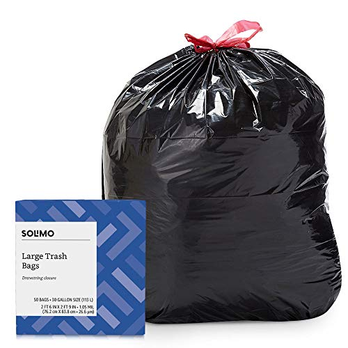 Amazon Brand - Solimo Multipurpose Drawstring Trash Bags, 30 Gallon, 50 Count (Full Draw Outdoors)
