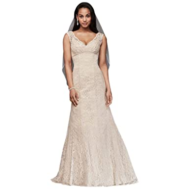 2327914a10310 David's Bridal All Over Beaded Lace Trumpet Wedding Dress Style T9612 at Amazon  Women's Clothing store: