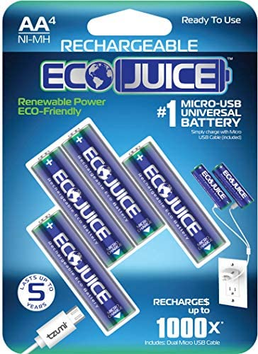 Eco Juice AA Rechargeable Batteries Micro USB NiMH Universal ecoFriendly 1000x Rechargeable by ECO