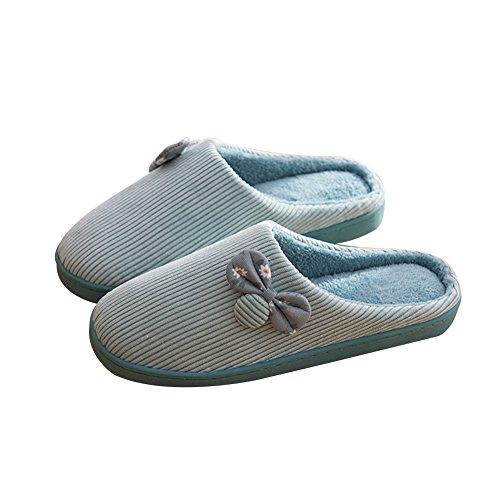 TELLW Cotton Slippers Female Male Cute Warm Non-Slip Home Half Pack Household Winter Furry Shoes Blue Sa9VWZ0dDD