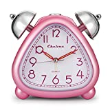 Chelvee Alarm Clock, Twin Bell Carton Quartz Analog Alarm Clock for Kids, Desk & Shelf Alarm Clock with Night Light, Snooze, Non-Ticking, 2 AA Battery Powered (Pink)