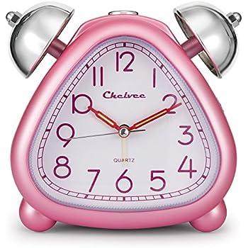 Alarm Clock, Chelvee Twin Bell Carton Quartz Analog Alarm Clock for Kids, Desk & Shelf Alarm Clock with Night Light, Snooze , Non-Ticking, 2 AA Battery Powered