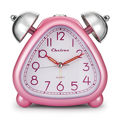 Chelvee Alarm Clock, Twin Bell Carton Quartz Analog Alarm Clock for Kids, Desk & Shelf Alarm Clock with Night Light, Snooze, Non-Ticking, 2 AA Battery Powered (Pink)