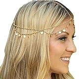 Missgrace HMetal Chain Jewelry Headband Head Hair Band Tassels Pearl
