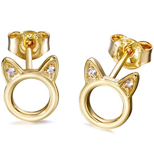 ad6e3c81e Meow Star Cat Stud Earrings Sterling Silver Cat Earrings for Girls ...