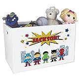Personalized Superhero Childrens Nursery White Open Toy Box