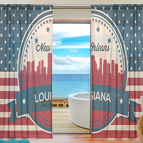 - Vintage American Flag Louisiana State New Orleans Skyline Window Sheer Curtain Panels, 2 PCS 55x78 inch, Gauze Curtain for Living Room Bedroom Home Decor