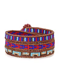 KELITCH Exclusive Agate Turquoise Seed bead 3 Wrap Bracelets Natural Leather Summer Jewelry