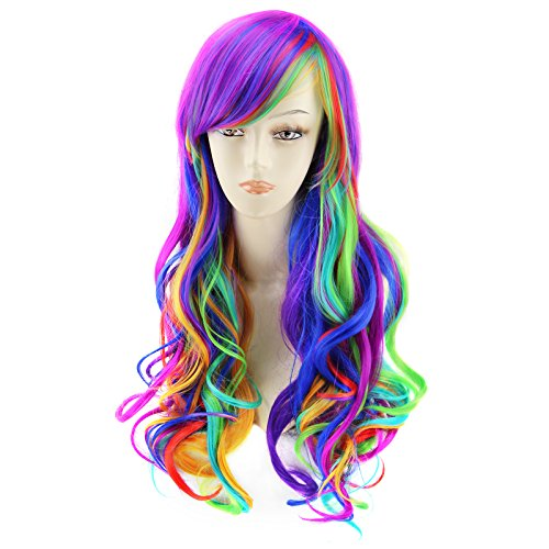 Harajuku Halloween Makeup (AGPtEK 27.5 Inches Full Long Curly Wavy Rainbow Hair Wig for Costume Cosplay Party Halloween - Harajuku Lolita Style Heat)