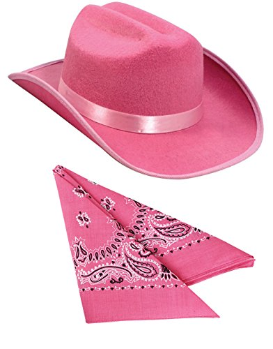 Kids Pink Cowboy Outlaw Felt Hat And Bandana Play Set Costume Accessory - The Western Outlaw Hat