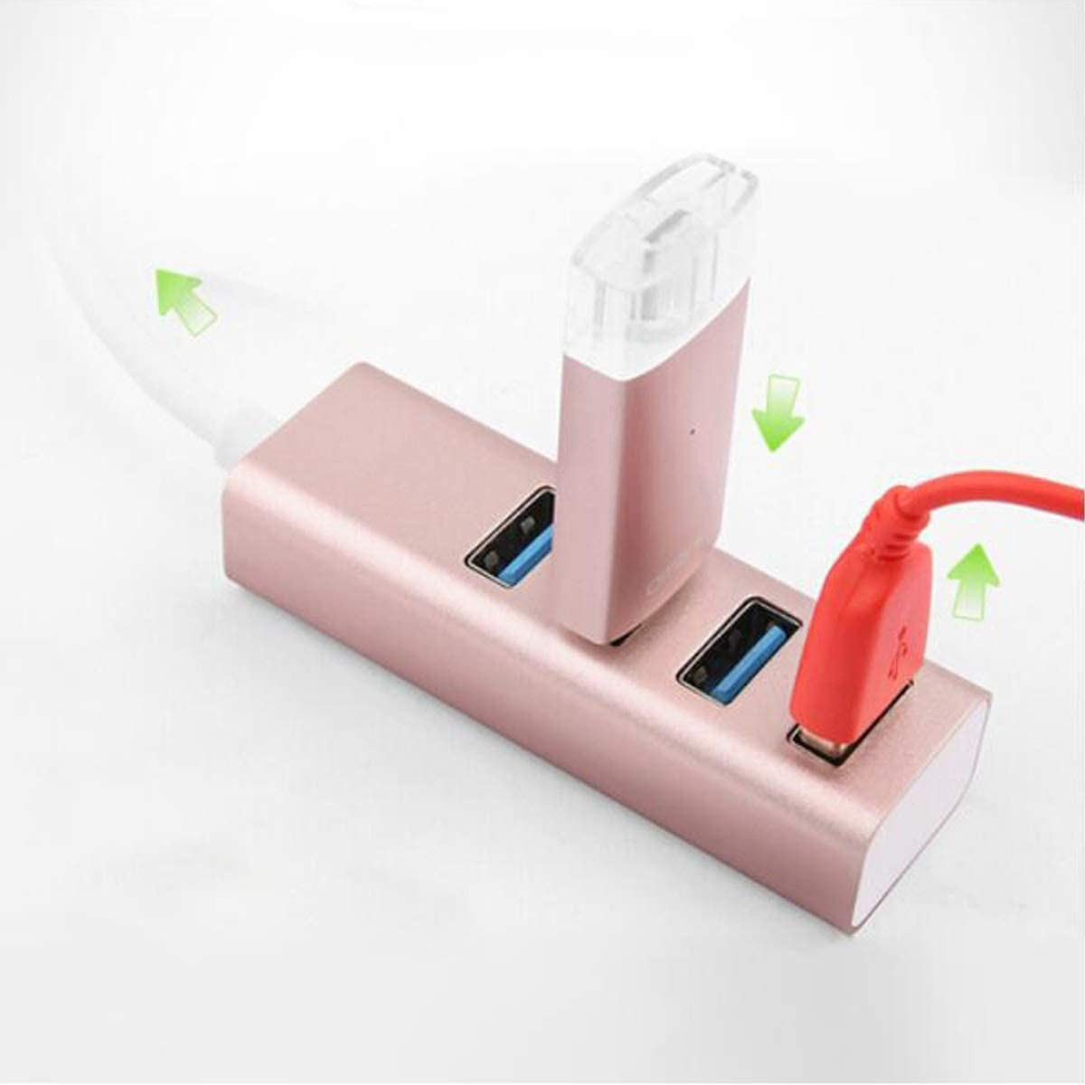 Jinfengtongxun Hub HUB Converter Color : Pink, Size : 0.5 m USB3.0 Splitter 0.5 M Unique High Speed Extension One for Four Interface Hub
