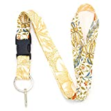 Buttonsmith William Morris Flora Premium Premium Lanyard with Buckle and Flat Ring - Made in USA