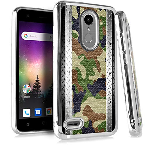 (Compatible LG Aristo 2 X210 | Tribute Dynasty | K8 (2018) | Fortune 2 | Zone 4 | Risio 3 Case Electroplated Chrome TPU Brushed Textured Hybrid Phone Cover (Multi Camo Crosshatch))