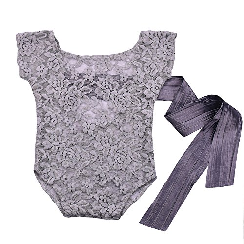 Romper Lace Romper (Newborn Baby Photography Props Girl Bodysuit,ISOCUTE Infant Lace Photo Clothes Romper(Gray))