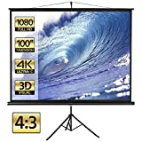 Yaheetech 100 Inch Portable 4:3 HD Projector Screen with Stand Indoor and Outdoor Pull Up Foldable Projections Screen Tripod Stand for Movie/Office Presentation/Home Theater/Camping