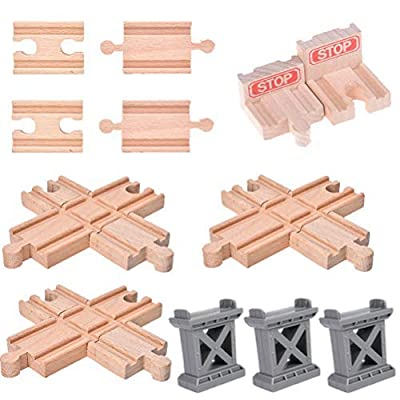 Ioffersuper 12 pcs Wooden Train Track Set, Male-Male Female-Female Bump Track, Bridge Pier Track(Random Color), Cross Track and Stop Track Compatible with All Major Brands (Mix) : Baby