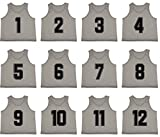 Oso Athletics Set of 12 Premium Polyester Mesh Numbered Jerseys Scrimmage Vests Pinnies w/ Carrying Bag for Children, Youth, & Adult Team Sports Soccer, Basketball, Football (Silver (#1-12), Child)