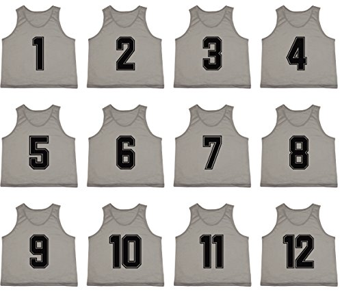 ee4dd580b51 ... Set of 12 Premium Polyester Mesh Numbered Jerseys Scrimmage Vests  Pinnies w/Carrying Bag for Children, Youth, Adult Team Sports Soccer,  Basketball, ...