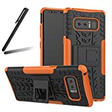 Galaxy Note 8 case,Galaxy Note 8 Stand case,Samsung Note 8 Cover,SKYMARS Tough Heavy Duty Shock Proof Defender Cover Dual Layer Armor Combo Protective Hard Case Cover for Samsung Galaxy Note 8 (2017) Heavy Orange