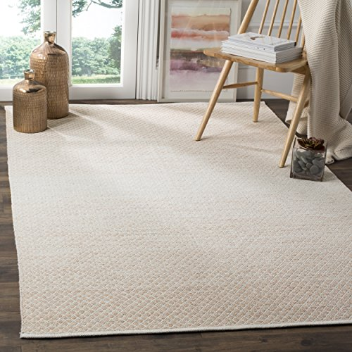 Safavieh Montauk Collection MTK601R Handmade Flatweave Beige and Ivory Cotton Area Rug (8' x 10') - Ivory Cotton Rug