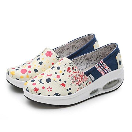 Zapatos Para Lazy libre Confort de mujer Al de de Zapatos deporte verano temblorosos Puntera Lienzo Segundo Suela Zapatillas aire Zapatos Casual On SHINIK ligera redonda Slip Tacón bajo FqwBzfRnWn