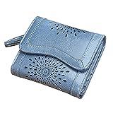 Women's Short Wallet Oil Wax Leather Ladies Zipper Coin Purse Card Holder Bifold Checkbook