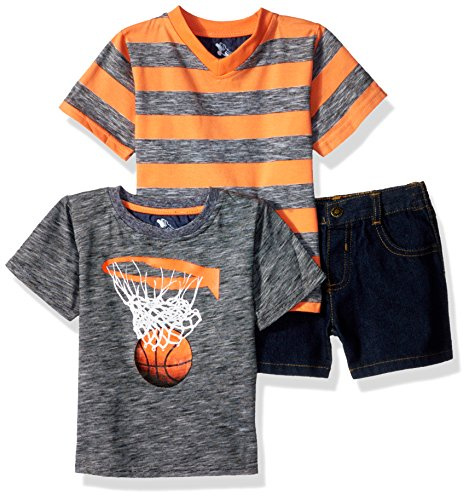 Basketball T-shirt Shorts - American Hawk Baby Boys 3 Piece Basketball, V-Neck T-Shirt, and Denim Short, Coral, 18M