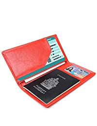 Phenas Cowhide Leather ulti-Fuction Travel Passport Case Passport Holder Cover Luggage Travel Wallet With 2 Matching Luggage Tags and 1 Luggage Strap (Red)