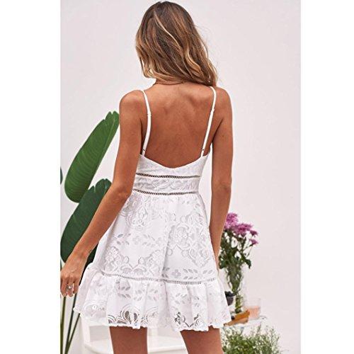 Noche Casual Playa Faldas Floral LuckyGirls de Blanco Sin Tirantes Mujer Vestido Elegancia Fiesta Botones de Sexy Blanco Verano de Mini Encaje Manga WTHYR